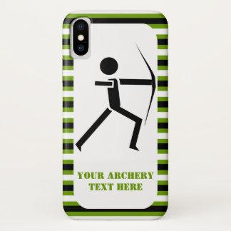 Coque iPhone X Archer avec son noir d'arc, rayures vertes de tir
