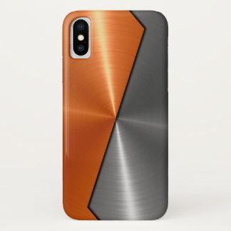 Coque iPhone X Argent et métal orange d'acier inoxydable