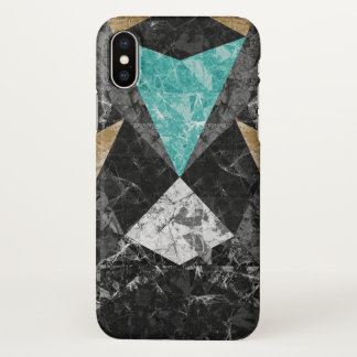 Coque iPhone X arrière - plan géométrique de marbre G430 de cas