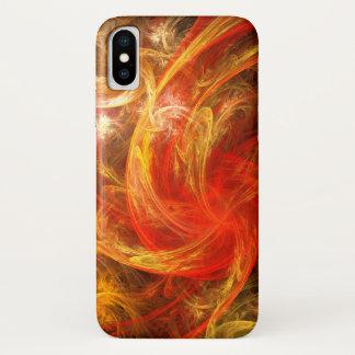 Coque iPhone X Art abstrait de nova de tempête de feu