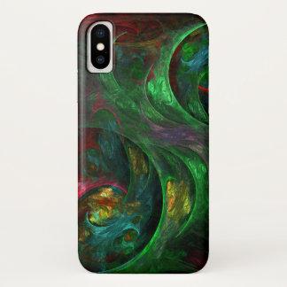Coque iPhone X Art abstrait vert de genèse