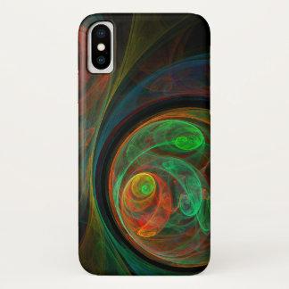 Coque iPhone X Art abstrait vert de renaissance