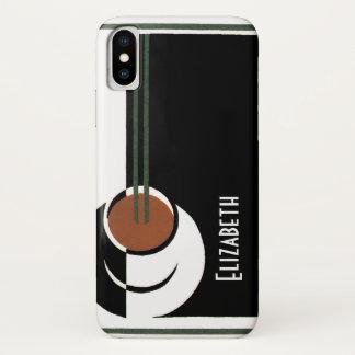 Coque iPhone X Art déco vintage, tasse de café avec la vapeur
