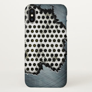 Coque iPhone X art en acier déchiré en métal
