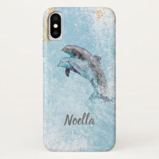 Coque iPhone X Art sautant de dauphins de beau thème de plage