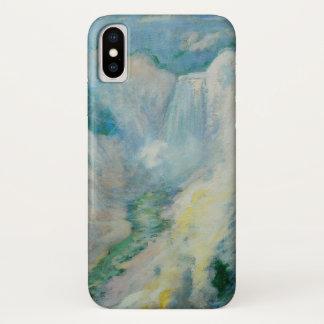 Coque iPhone X Art vintage, cascade dans Yellowstone par