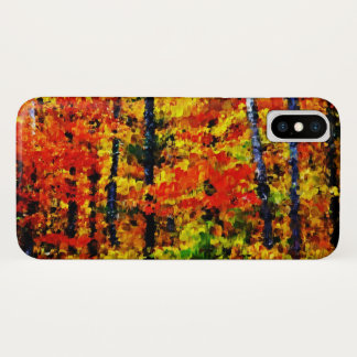 Coque iPhone X Automne dans l'art de peinture de la forêt  