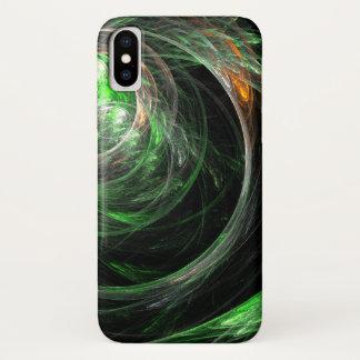 Coque iPhone X Autour de l'art abstrait de vert du monde