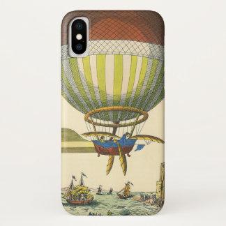 Coque iPhone X Ballon à air chaud vintage de Steampunk de la