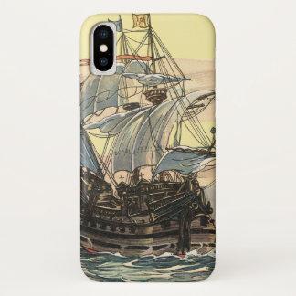 Coque iPhone X Bateau de pirate vintage, navigation de galion sur