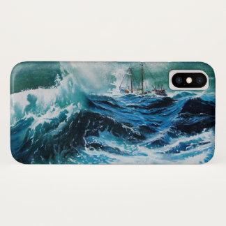 Coque iPhone X Bateau en mer dans la tempête