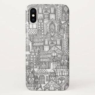 Coque iPhone X blanc de noir de ville de pain d'épice