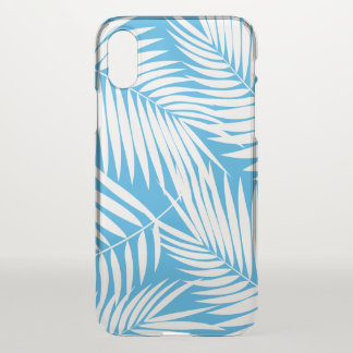 Coque iPhone X Bleu tropical de feuille hawaïenne de paumes de