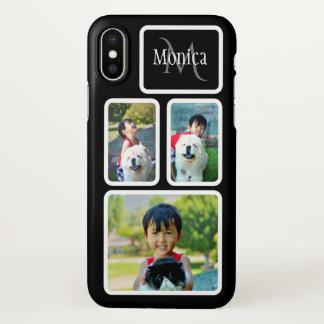Coque iPhone X Cadres blancs de noir de collage de photo du