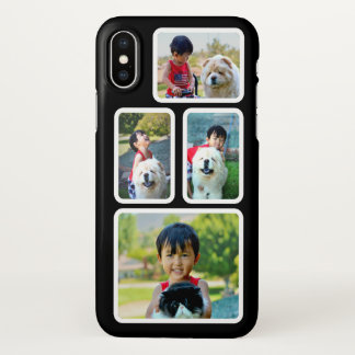 Coque iPhone X Cadres noirs et blancs de collage de photo faits