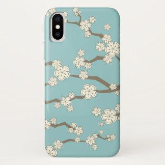 Coque iPhone X Caisse bleue de fleurs de cerisier crèmes
