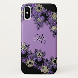 Coque iPhone X Caisse celtique pourpre de l'iPhone X de