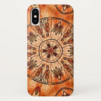 Coque iPhone X Caisse de mandala de zodiaque de trinité du Christ