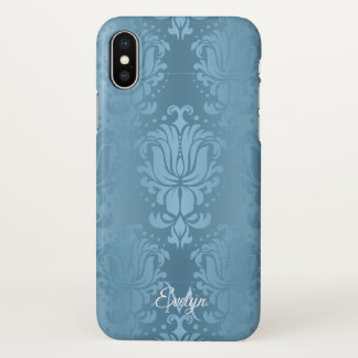 Coque iPhone X Caisse florale vintage bleue de l'iPhone X de