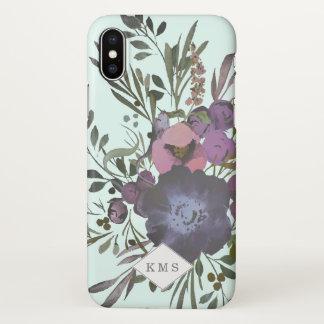 Coque iPhone X Caisse foncée de guirlande de bouquet floral de