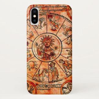 Coque iPhone X Caisse médiévale de calendrier de zodiaque du