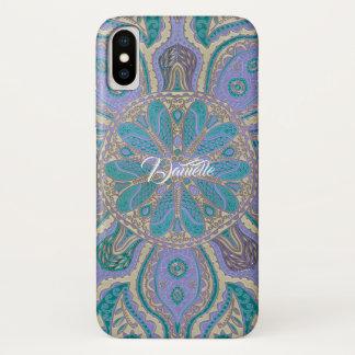 Coque iPhone X Caisse pourpre turquoise colorée de l'iPhone X de