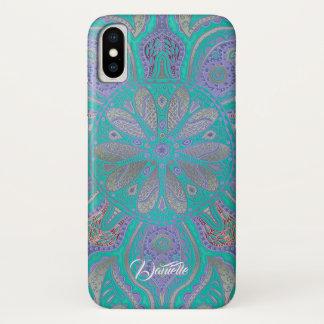 Coque iPhone X Caisse pourpre verte colorée de l'iPhone X de