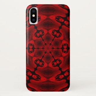 Coque iPhone X Caisse réfléchie de mandala d'antichriste cramoisi