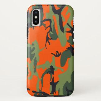 Coque iPhone X Camo orange et vert de sécurité