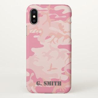 Coque iPhone X Camouflage rose. Camo votre