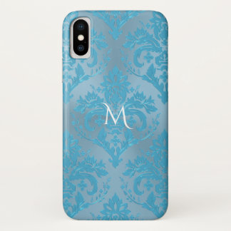 Coque iPhone X Cas bleu-clair de l'iPhone X de monogramme de