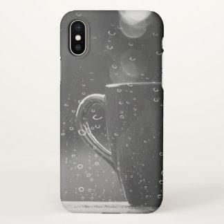Coque iPhone X Cas de l'iPhone X de café de jour pluvieux