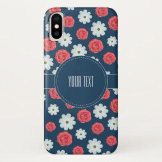 Coque iPhone X Cas floral de motif de blanc et de rose