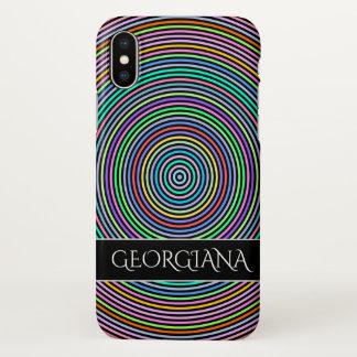 Coque iPhone X Cercles/motif multicolores d'anneaux + Nom fait