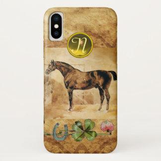 Coque iPhone X CHEVAL ANGLAIS, FER À CHEVAL, parchemin de