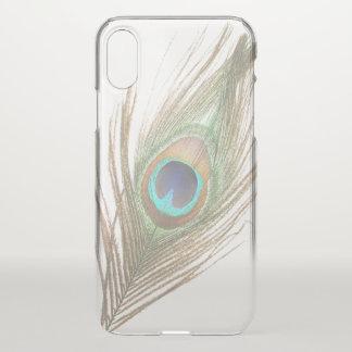 Coque iPhone X Choisissez la plume de paon d'arrière - plan