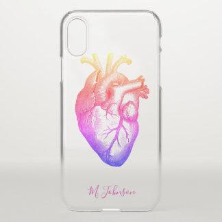 Coque iPhone X Coeur d'arc-en-ciel personnalisé