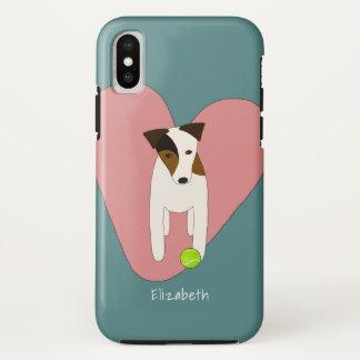 Coque iPhone X Coeur et balle de tennis roses de Jack Russell