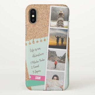 Coque iPhone X Collage de photo des souvenirs Corkboard de voyage
