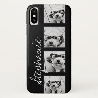 Coque iPhone X Collage noir et blanc de photo d'Instagram