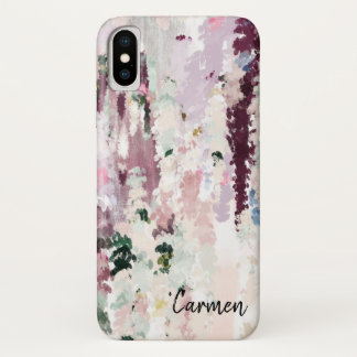 Coque iPhone X Courses chiques de pinceau d'aquarelle