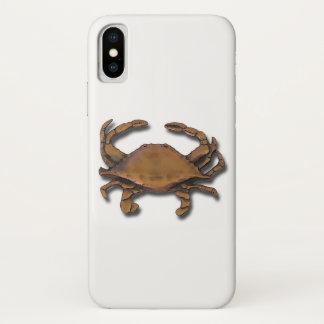 Coque iPhone X Crabe de cuivre sur le blanc