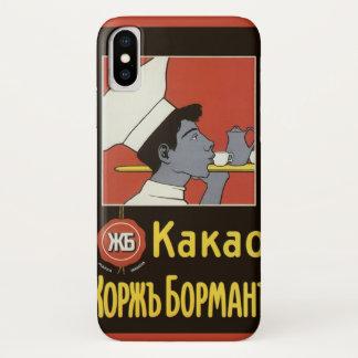 Coque iPhone X Étiquette vintage de produit, chocolat chaud russe