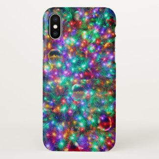 Coque iPhone X Étoiles de scintillement de Noël de luxe