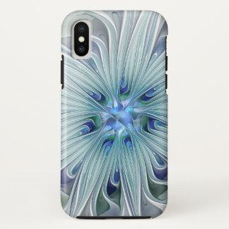 Coque iPhone X Fleur en pastel bleue moderne d'abrégé sur floral