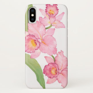 Coque iPhone X Fleurs exotiques roses d'aquarelle