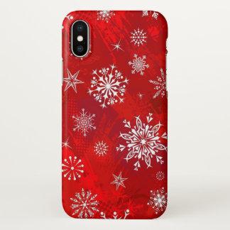 Coque iPhone X flocon de neige de rouge de Joyeux Noël et de