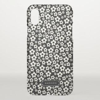 Coque iPhone X Floral blanc noir chic de mod personnalisé