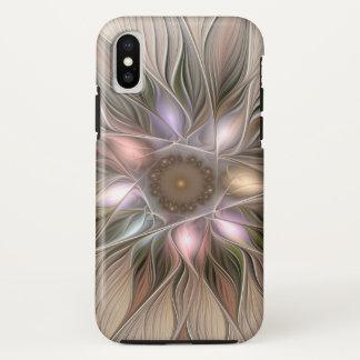 Coque iPhone X Fractale florale beige de Brown d'abrégé sur