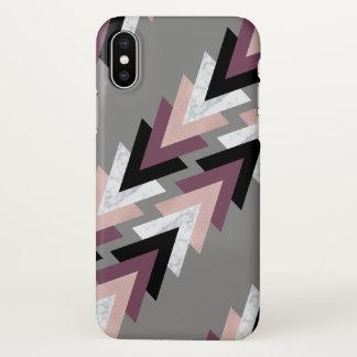 Coque iPhone X géométrique noir pourpre de marbre blanc d'or rose